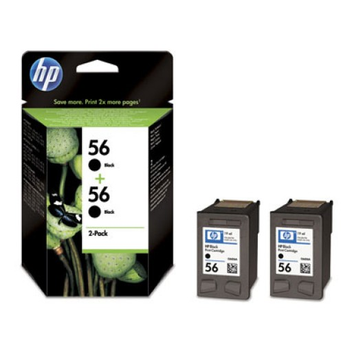 HP C9502AE No.56 Ink Cartridge - HC Black Multipack Genuine