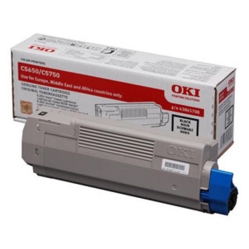 Oki 43865708 Toner Cartridge Black, C5650, C5750- Genuine