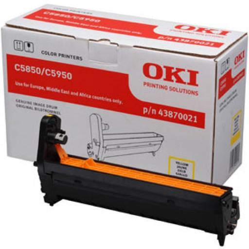 Oki 43870021, Image Drum Unit- Yellow, C5850, C5950, MC560- Original