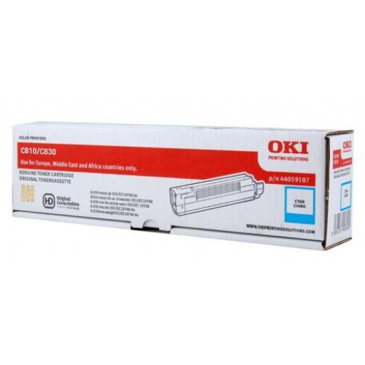 Oki 44059107 Toner Cartridge Cyan, C810, C830- Genuine