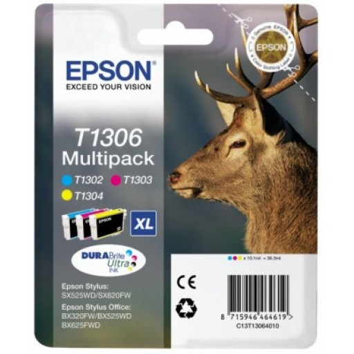 Epson T1306 Ink Cartridge - 3 Colour Multipack Genuine