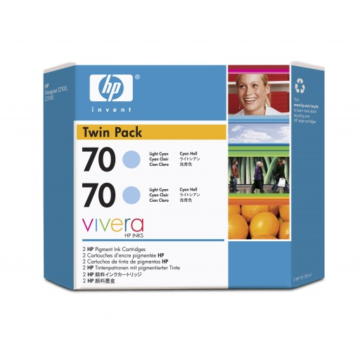 HP CB351A No.70 Ink Cartridge - Light Cyan Twin Pack Genuine