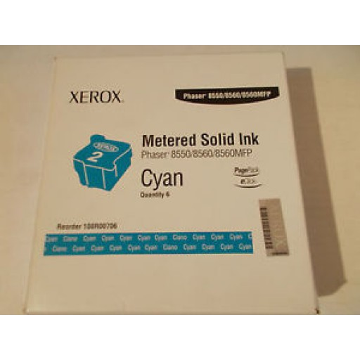 Xerox 108R00706 Solid Ink Sticks-6 x Cyan, 8550, 8560, 8560MFP- Genuine