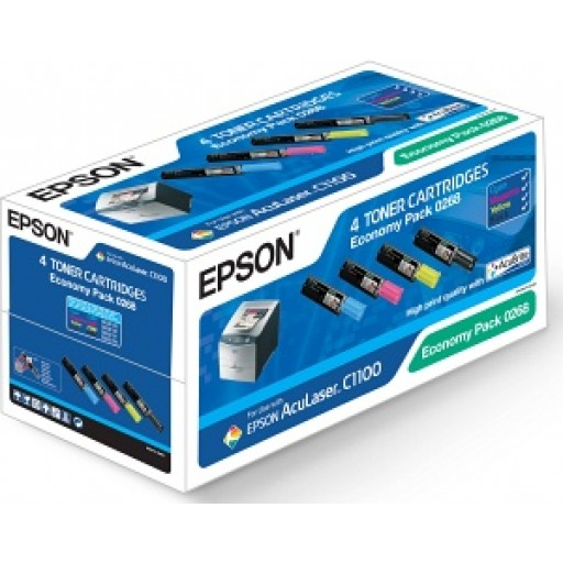 Epson C13S050268, Toner Cartridge 4 Colour Multipack, Aculaser C1100- Original