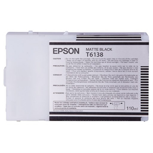 Epson T6138 Ink Cartridge - Matte Black Genuine