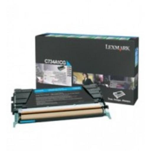 Lexmark C734A1CG, Toner Cartridge- Cyan, C734, C736, X736, X738- Genuine