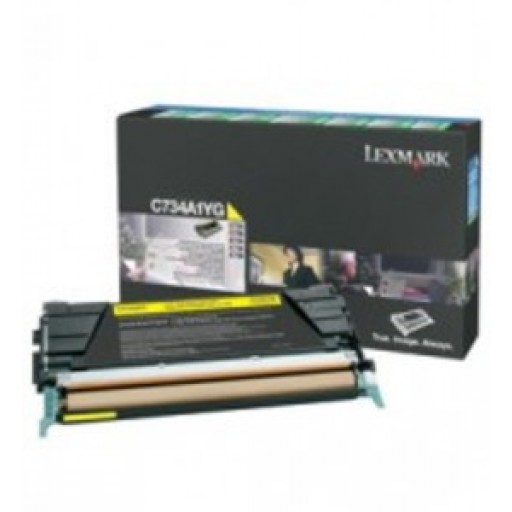 Lexmark C734A1YG, Toner Cartridge- Yellow, C734, C736, X736, X738- Genuine