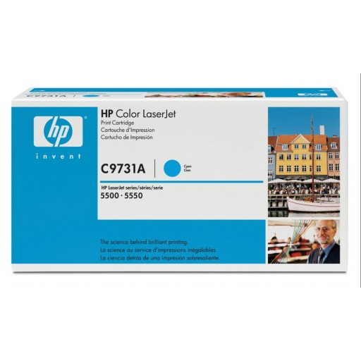 HP C9731A Toner Cartridge Cyan, 645A, 5500, 5550- Genuine