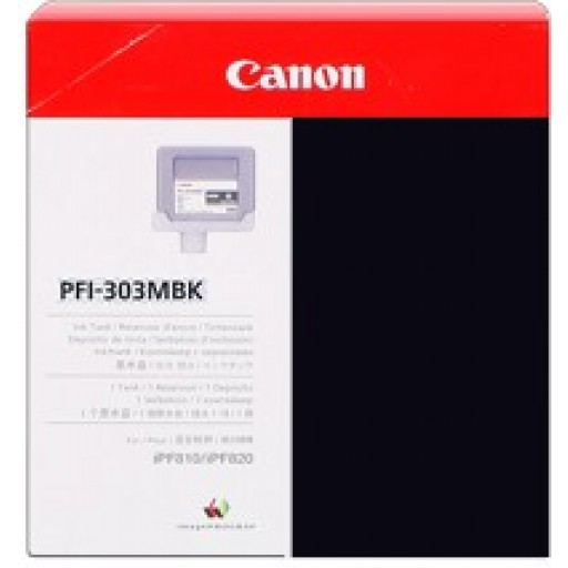 Canon iPF810, iPF815, iPF820, iPF825 PFI303MBK Ink Cartridge - Black Matte Genuine (2957B001AA)