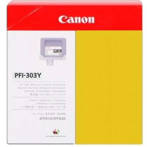 Canon iPF810, iPF815, iPF820, iPF825 PFI303Y Ink Cartridge - Yellow Genuine (2961B001AA)