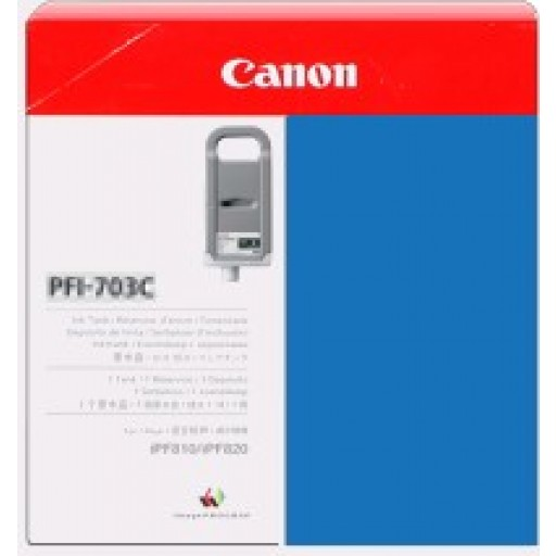 Canon iPF810, iPF815, iPF820, iPF825 PFI703C Ink Cartridge - HC Cyan Genuine (2964B001AA)