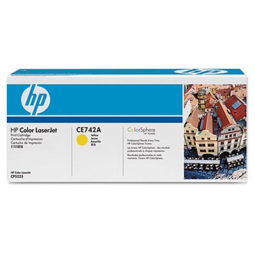 HP CE742A, Toner Cartridge- Yellow, CP5225- Original