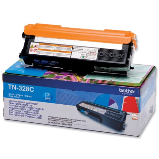 Brother TN-328C, Toner Cartridge- Cyan, DCP-9270CDN, HL-4570CDW- Original