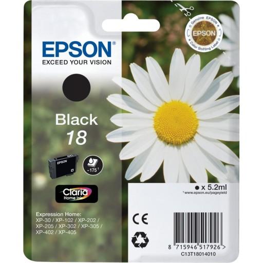 Epson C13T18014010, Ink Cartridge Black, No.18, XP102, 205, 302, 405- Original