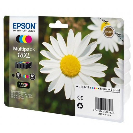 Epson C13T18164010, 18XL Ink Cartridge Value Pack, XP 102, 202, 205, 30, 302, 305, 402, 405 - HC 4 Colour Genuine