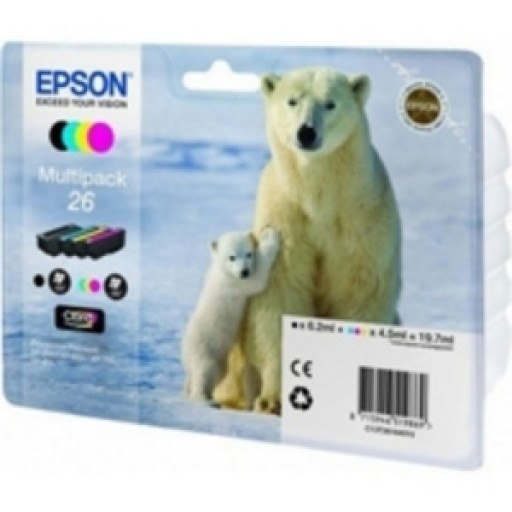 Epson C13T26164010, 26 Ink Cartridge Valuepack, XP 600, 605, 700, 800 - 4 Colour Genuine
