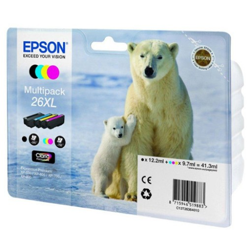 Epson C13T26364010, 26XL Ink Cartridge Valuepack, XP 600, 605, 700, 800 - HC 4 Colour Genuine
