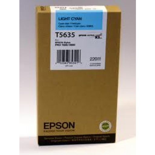 Epson T5635, T563500 Ink Cartridge, Pro 7800, 9800 - HC Light Cyan Genuine