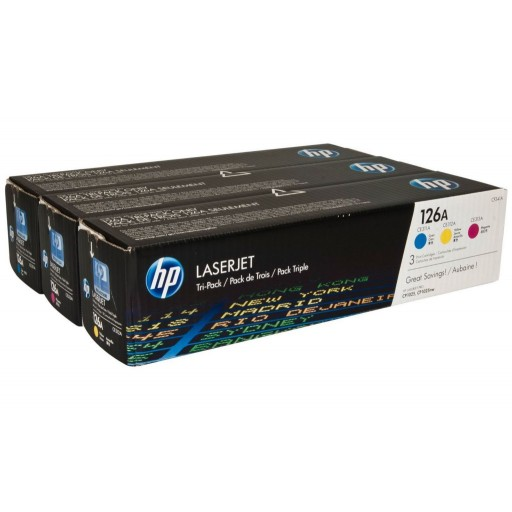 hp cf341a 126a toner cartridge multipack cp1025 m175 m275 3 colour genuine. Black Bedroom Furniture Sets. Home Design Ideas