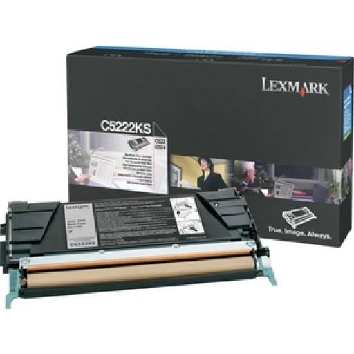 Lexmark C5222KS Toner Cartridge, C522, C524, C530, C532, C534 - Black Genuine