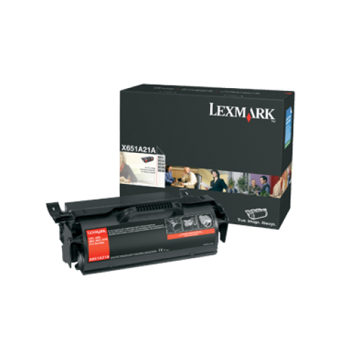 Lexmark X651A21E Toner Cartridge, X651, X652, x654, X656, X658 - Black Genuine
