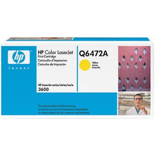 HP Q6472A, Toner Cartridge- Yellow, 3600, 3800, CP3505- Original