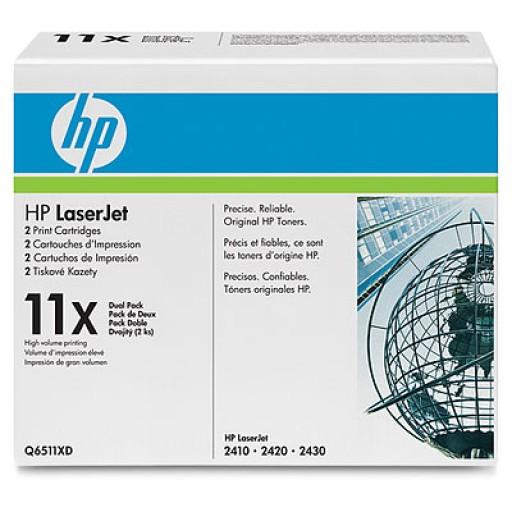 HP 2410, 2420, 2430 Toner Cartridge - HC Black Multipack Genuine (Q6511XD)