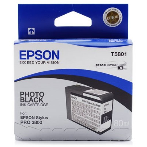 Epson Stylus Pro 3800, 3880 Ink Cartridge - Photo Black Genuine (T5801)