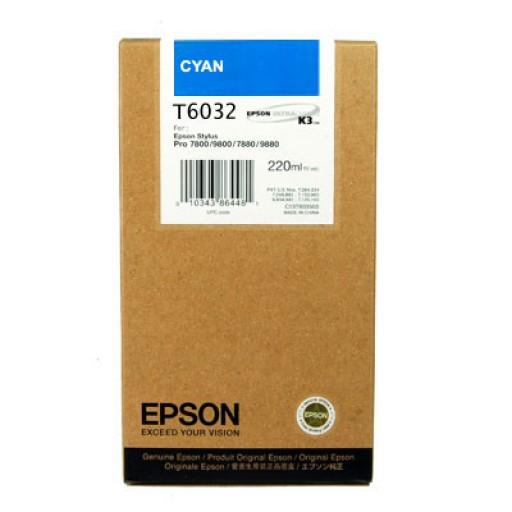 Epson T6032, Ink Cartridge HC Cyan, Stylus Pro 7800, 7880, 9800, 9880- Original