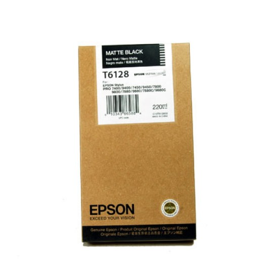 Epson T6128, Ink Cartridge HC Matte Black, Stylus Pro 7400, 7800, 9800, 9880- Original