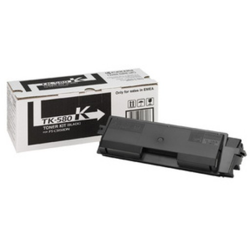 Kyocera TK580K, Toner Cartridge- Black, FS-C5150, P6021cdn- Original