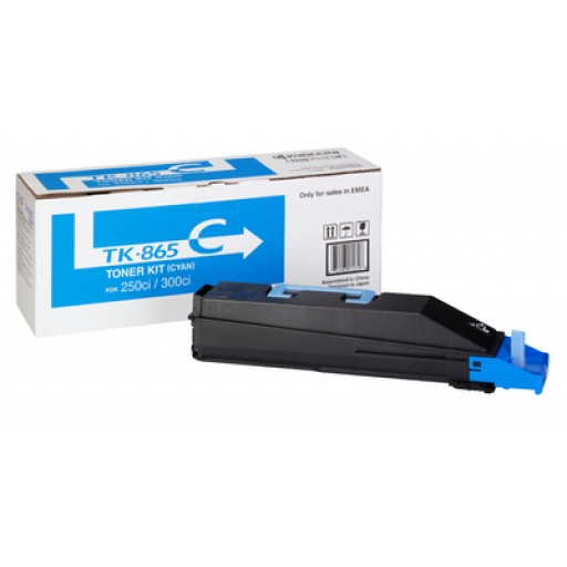 Kyocera TK865C, Toner Cartridge- Cyan, 250ci, 300ci- Genuine