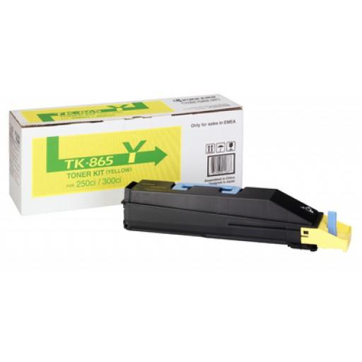 Kyocera  TK865Y, Toner Cartridge- Yellow, 250ci, 300ci- Genuine