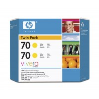 HP CB345A No.70 Ink Cartridge - Yellow Twin Pack Genuine