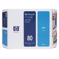 HP C4846A, No.80 Ink Cartridge- HC Cyan, Designjet 1050, 1055- Original