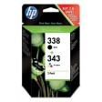 HP SD449EE No.338 / No.343 Ink Cartridge - Black & Tri-Colour Multipack Genuine