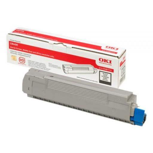 Oki 43487712, Toner Cartridge- Black, C8600, C8800- Genuine