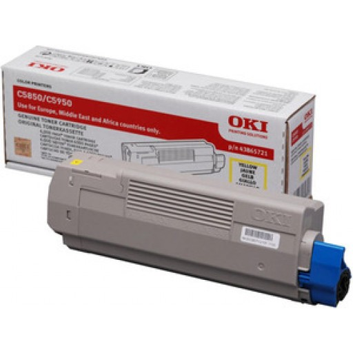 Oki 43865721 Toner Cartridge Yellow, C5850, C5950, MC560- Genuine