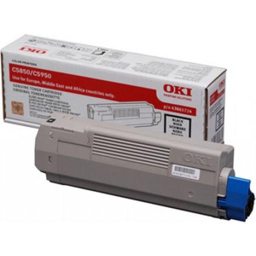 Oki 43865724 Toner Cartridge Black ,C5850, C5950, MC560- Genuine