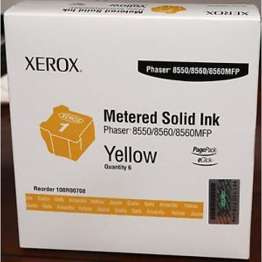 Xerox 108R00708 Solid Ink Sticks-6 x Yellow, 8550, 8560, 8560MFP- Genuine