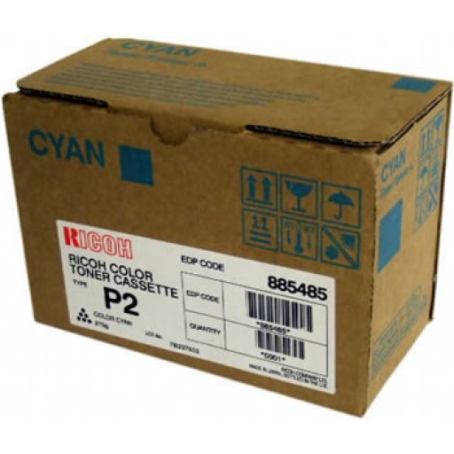 Ricoh 885485 Toner Cartridge HC Cyan, Type P2, 2228C, 2232C, 2238C - Genuine