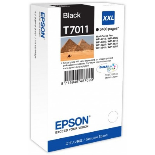 Epson C13T70114010, Ink Cartridge Extra HC Black, WP 4095, 4595, 4015, 4515, T7011 XXL- Original