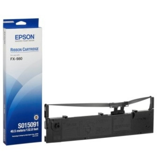Epson S015091, Fabric Ribbon Cartridge Black, FX-980- Original