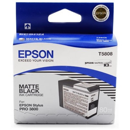 Epson Stylus Pro 3800, 3880 Ink Cartridge - Matte Black Genuine (T5808)
