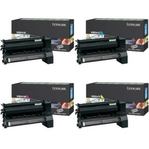 Lexmark 10B041K, 10B041C, 10B041M, 10B041Y, Toner Cartridge Value pack, C750- Original