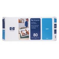 HP C4821A, No.80, Cyan Printhead and Cleaner, Designjet 1050, 1055- Original